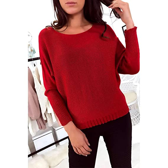 le dernier 05a53 45604 Miss Wear Line - Pull Rouge col Bateau à Maille et Manche ...