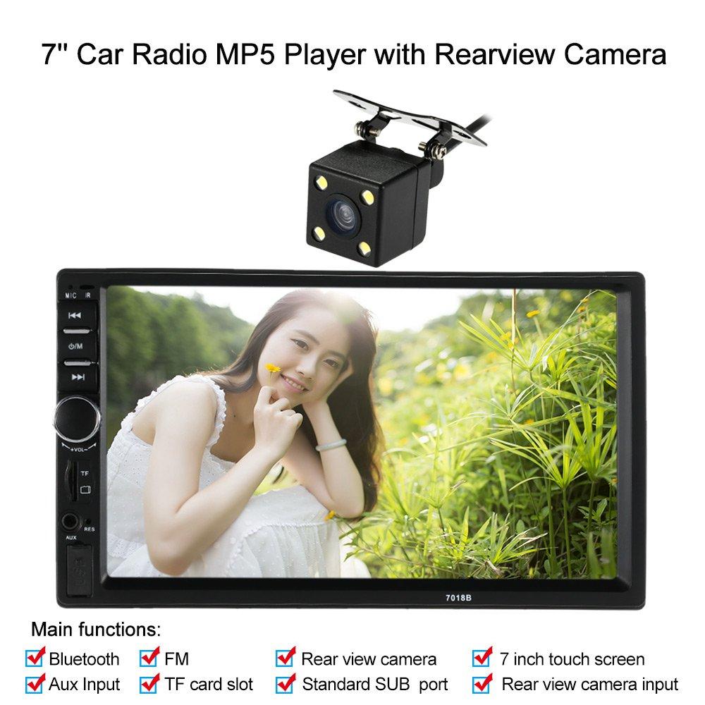 KKMOON autoradio 7 pouces universel 2 Din HD Bluetooth stéréo FM MP5 multimédia player Écran tactile USB / AUX Entrée AUX avec HD caméra de marche arrière divertissement de voi