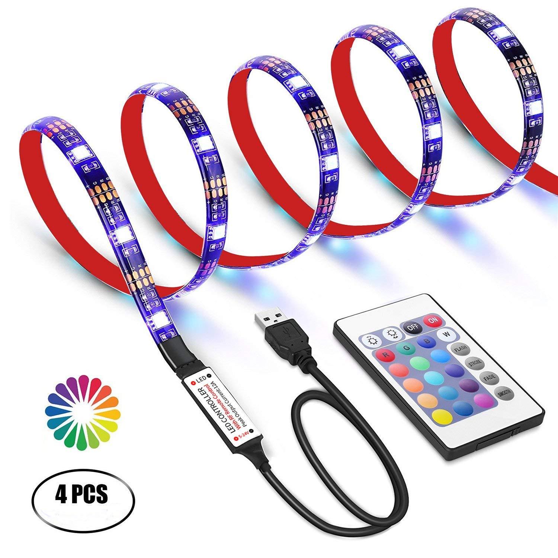 Ruban LED pour HDTV, Rétroéclairage TV USB LED de Rétroéclairage TV 2m avec la RF Télécommande, Lumières LED multicolores GHONLZIN