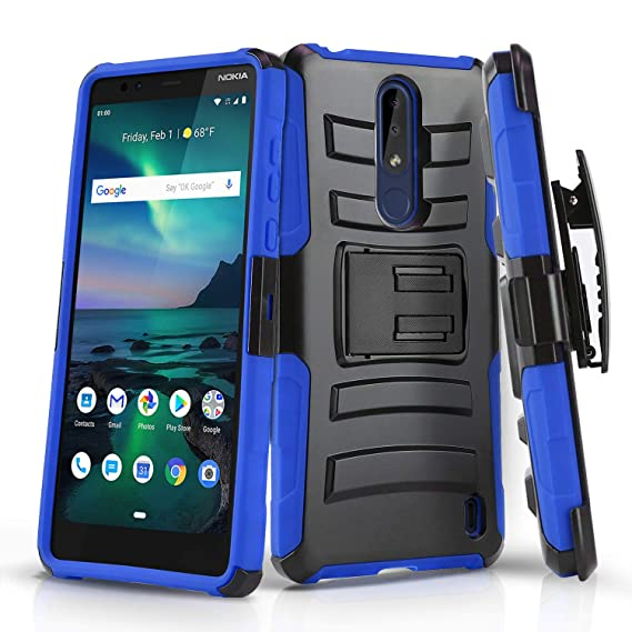new concept 62b4e c63c2 Phone Case for [Nokia 3.1 Plus (Cricket Wireless)], [Refined Series][Blue]  Shockproof [Impact Resistant] Cover with [Kickstand] & [Swivel Belt Clip ...