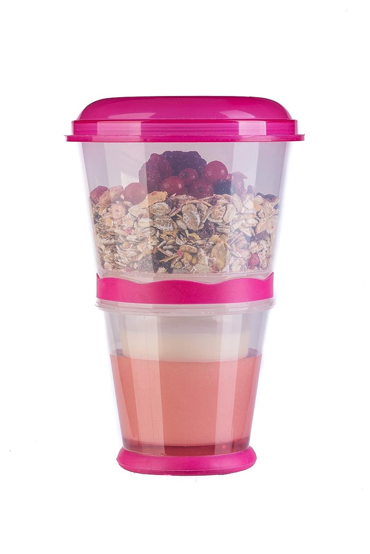 Pink blupalu M/üslibecher to go mit isoliertem Milch-K/ühlfach M/üsli-Fach /& L/öffel 2-go f/ür unterwegs