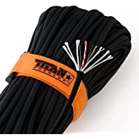 """Titan SurvivorCord   Patented Military Type III 550 Paracord/Parachute Cord (3/16"""" Diameter) with Integrated Fishing Line, Fire-Starter, and Snare Wire. Free Paracord eBooks Included."""
