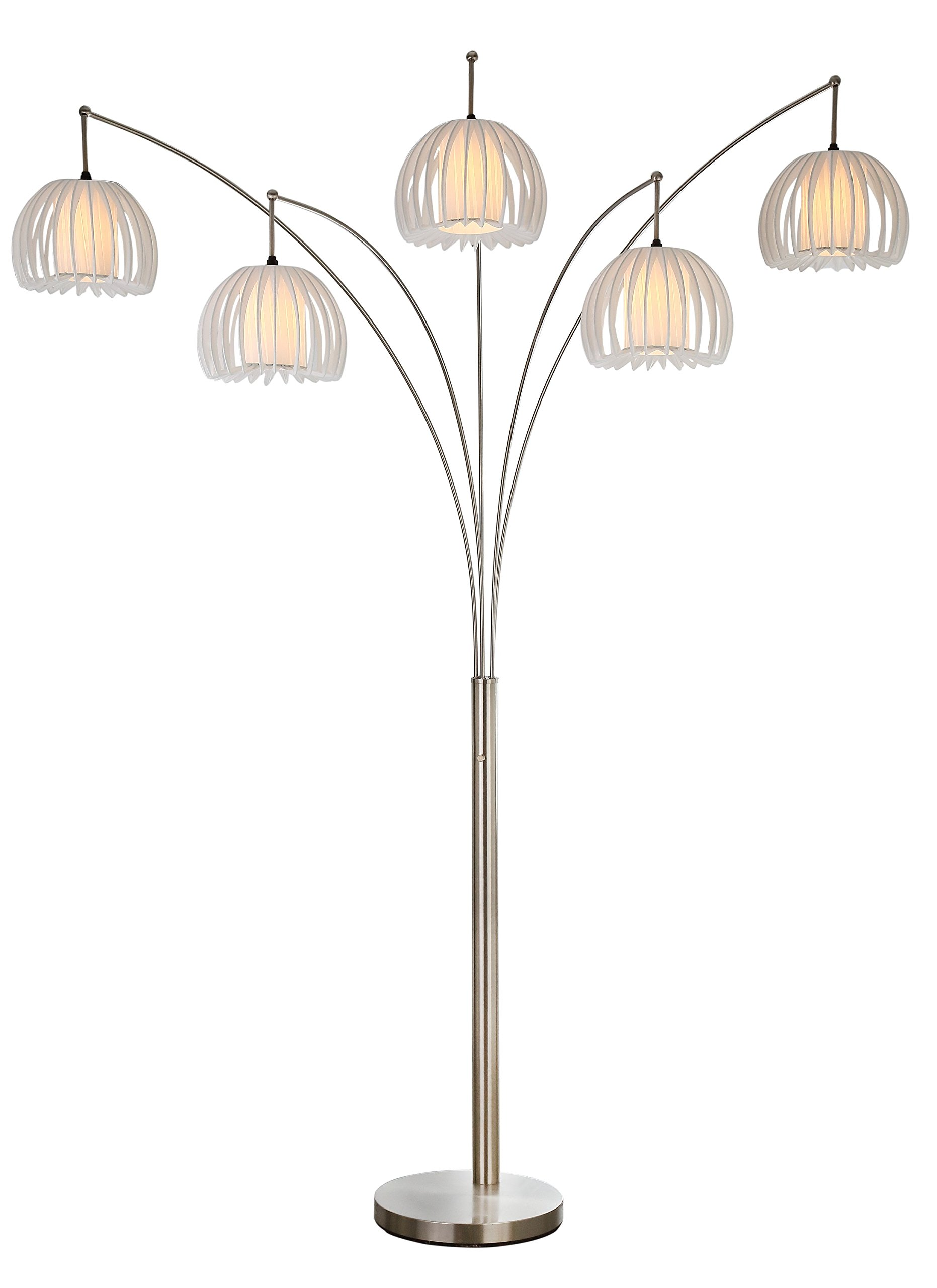 Artiva USA LED612218FSN Zucca 5-Arch Brushed Steel LED Floor Lamp with Dimmer, 89'', Brushed Nickel by Artiva USA