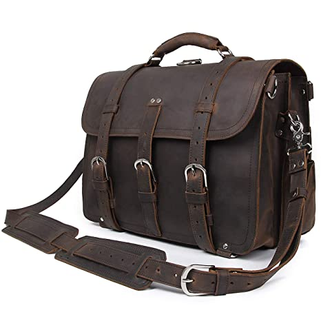 519baf7fd3 Polare Unisex Thick Top Layer Real Cow Leather Outdoor Shoulder Briefcase  Attache 17 Inch Laptop Bag Tote Black - Buy Polare Unisex Thick Top Layer  Real Cow ...