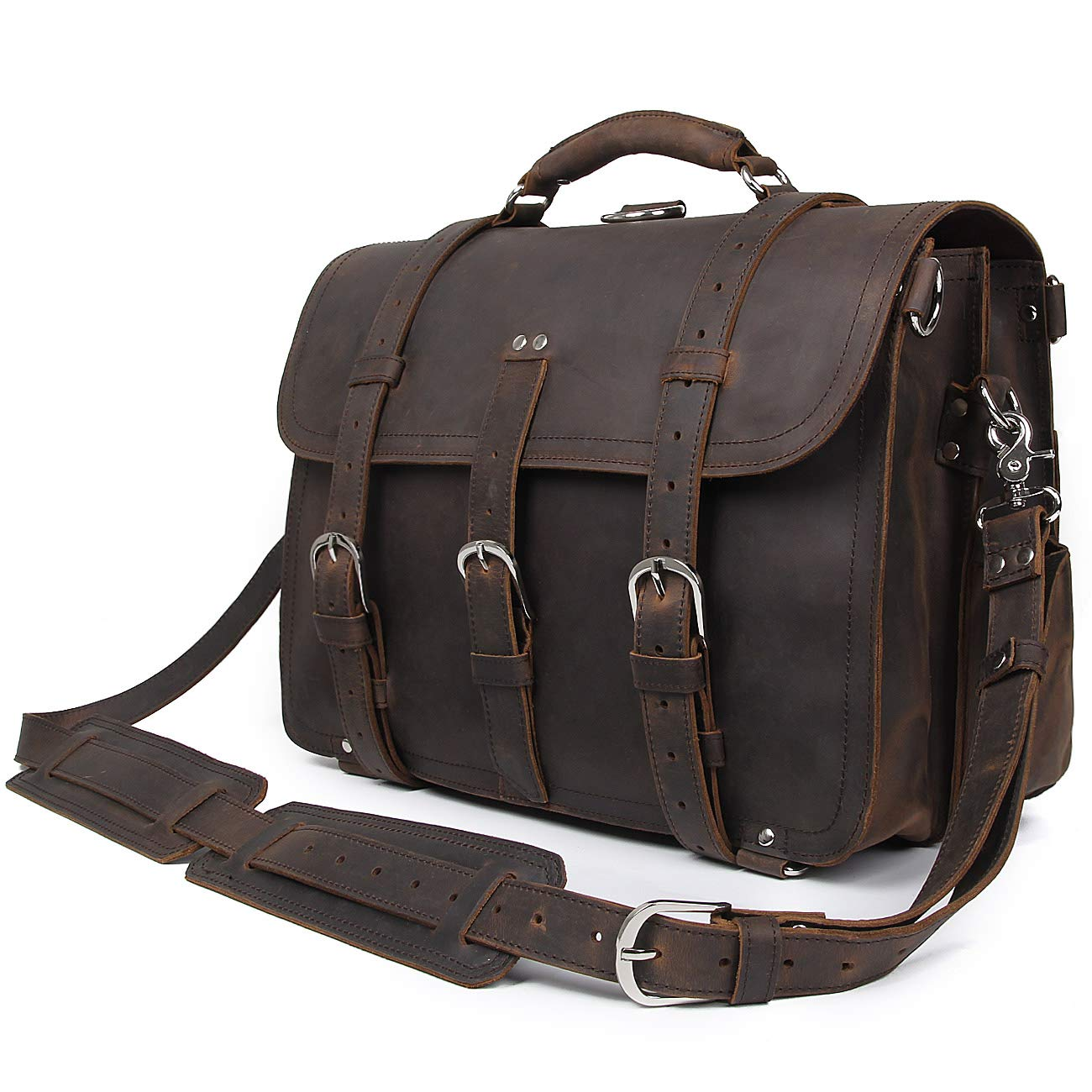 Dark Brown Polare Men's Full Grain Leather 16'' Laptop Briefcase Shoulder Messenger Bag