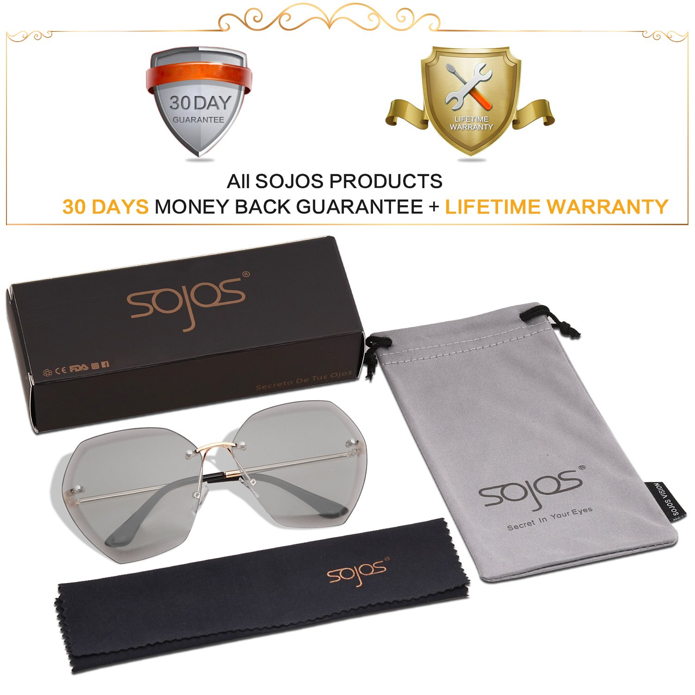 SOJOS Schick Polygon Sonnenbrille Damen Herren Groß SJ1073 mit Gold Rahmen/Grau Linse X9tUnXzQQ