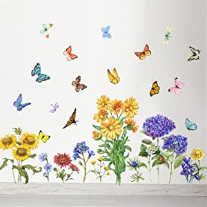 Yovkky Summer Fall Flower Butterfly Wall Decals, Daisy Hydrangea Floral Peel and Stick Wall Sticker Colorful Lavender Dragonfly Decor, Home Kitchen Living Room Decorations Kid Bedroom Art Party Supply