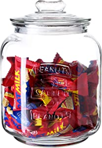 Diamond Star Glass Storage Jar Wide Mouth Canning Jar Large Candy Jar Kitchen Storage Containers with Airtight Glass Lid (120oz)