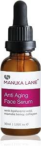 Manuka Lane Anti Aging Face Serum with Hyaluronic Acid, Collagen and All Natural New Zealand Manuka Honey