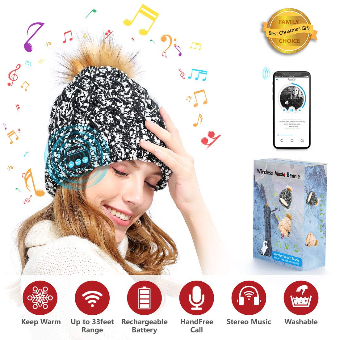 Wireless Bluetooth Beanie Hat, DigiHero Bluetooth Headphones Music Cap Wireless Headset Earphones Bluetooth 4.2 Built-in Microphone Stereo Speaker 4-6 Hour Playtime Easy-Pair for Winter & Christmas