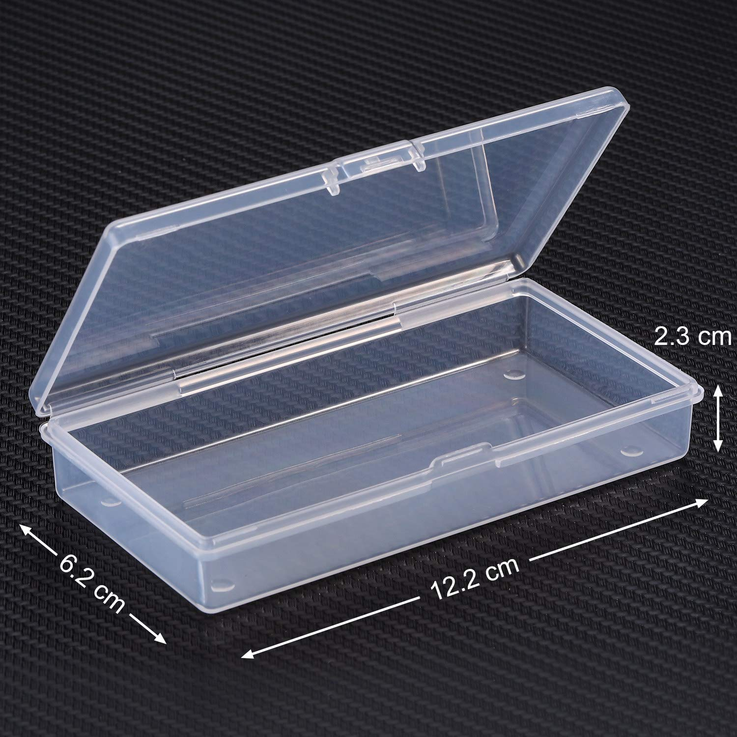 SATINIOR 12 Pack Clear Plastic Beads Storage Containers Box with Hinged Lid for Beads and More 3.3 x 3.3 x 1.2 Inch