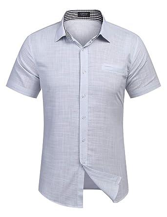 best service 59045 4de33 Burlady Herren Hemd Kurzarm Langarm Leinenhemd aus Baumwollmischung Kariert  Sommer Freizeit Men´s Shirt