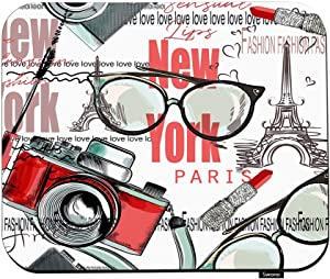 "Swono Fashion Vector Pattern Lipstick Mouse Pads Camera Glasses Words New York London Paris Mouse Pad for Laptop Funny Non-Slip Gaming Mouse Pad for Office Home Travel Mouse Mat 7.9""X9.5"""