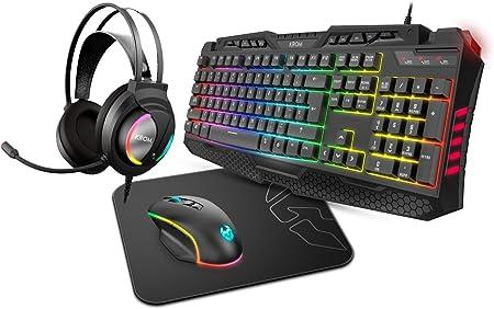 Pack Combo Gaming Krom KRITIC SP -NXKROMKRITICSP- RGB, teclado membrana, raton optico 6400 DPI, auriculares stereo, alfombrilla goma antideslizante, ...
