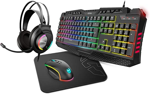 Pack Combo Gaming Krom KRITIC SP -NXKROMKRITICSP- RGB, Color Negro ...
