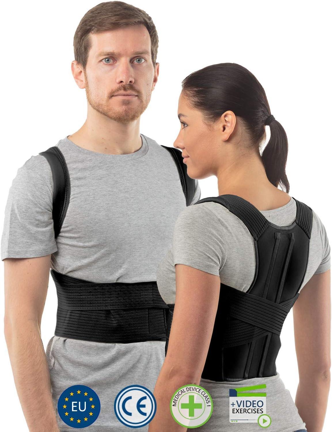 aHeal Corrector de Postura de Espalda para Hombre y Mujer | Soporte de Espalda y Columna Lumbar Superior para Corrección de Postura | Alivio del Dolor y Rehabilitación de Lesiones | Talla 3 Negro