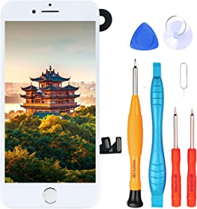 Ayake for iPhone 8 Screen Replacement with Home Button, Full Assembly Retina LCD Touch Display Digitizer with Front Camera+Earpiece Speaker+Proximity Sensor+ Repair Tool for A1863, A1905, A1906(White)