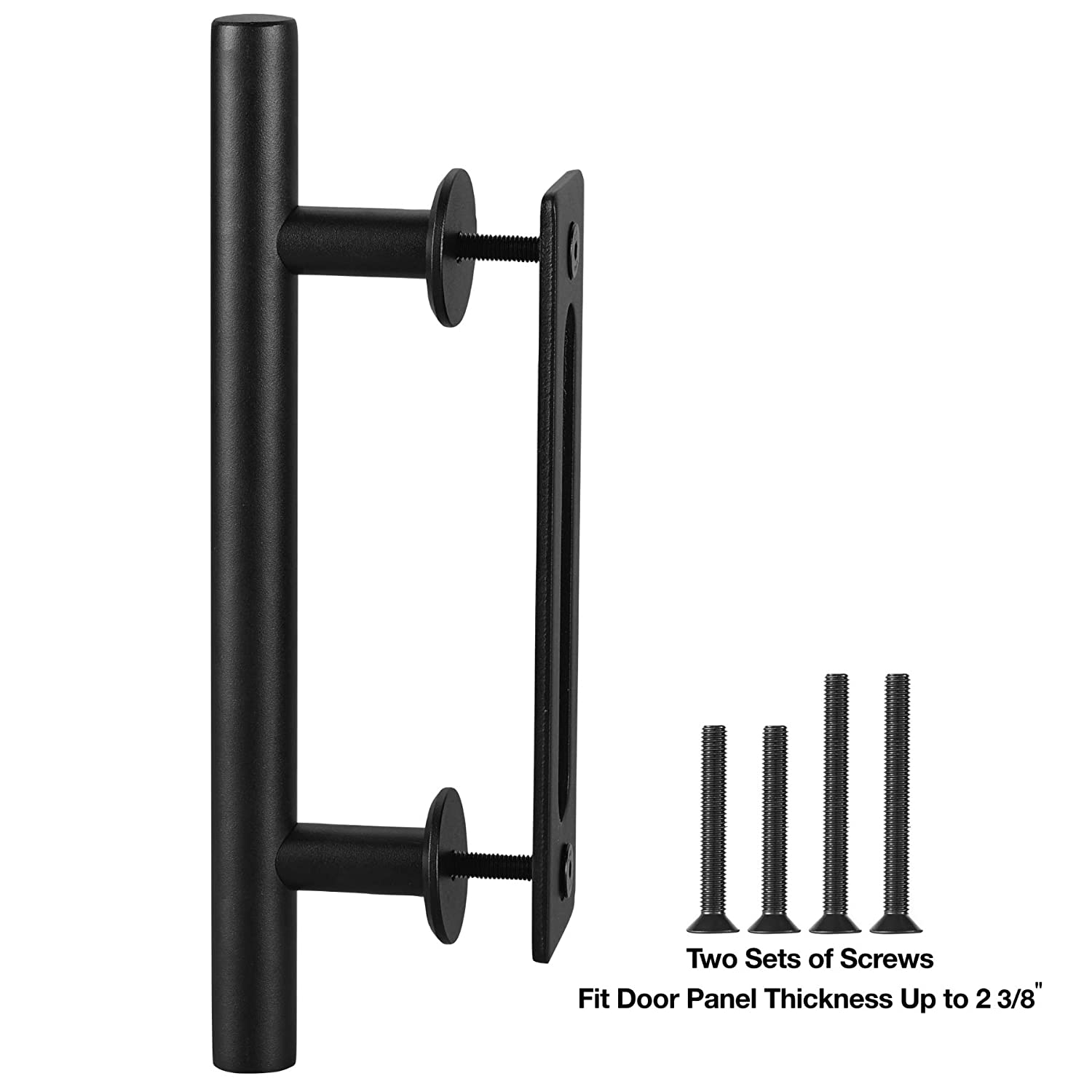"FaithLand 12"" Heavy Duty Pull and Flush Door Handle Set in Black, Sliding Barn Door Handle - Fit Doors Up to 2 3/8''"