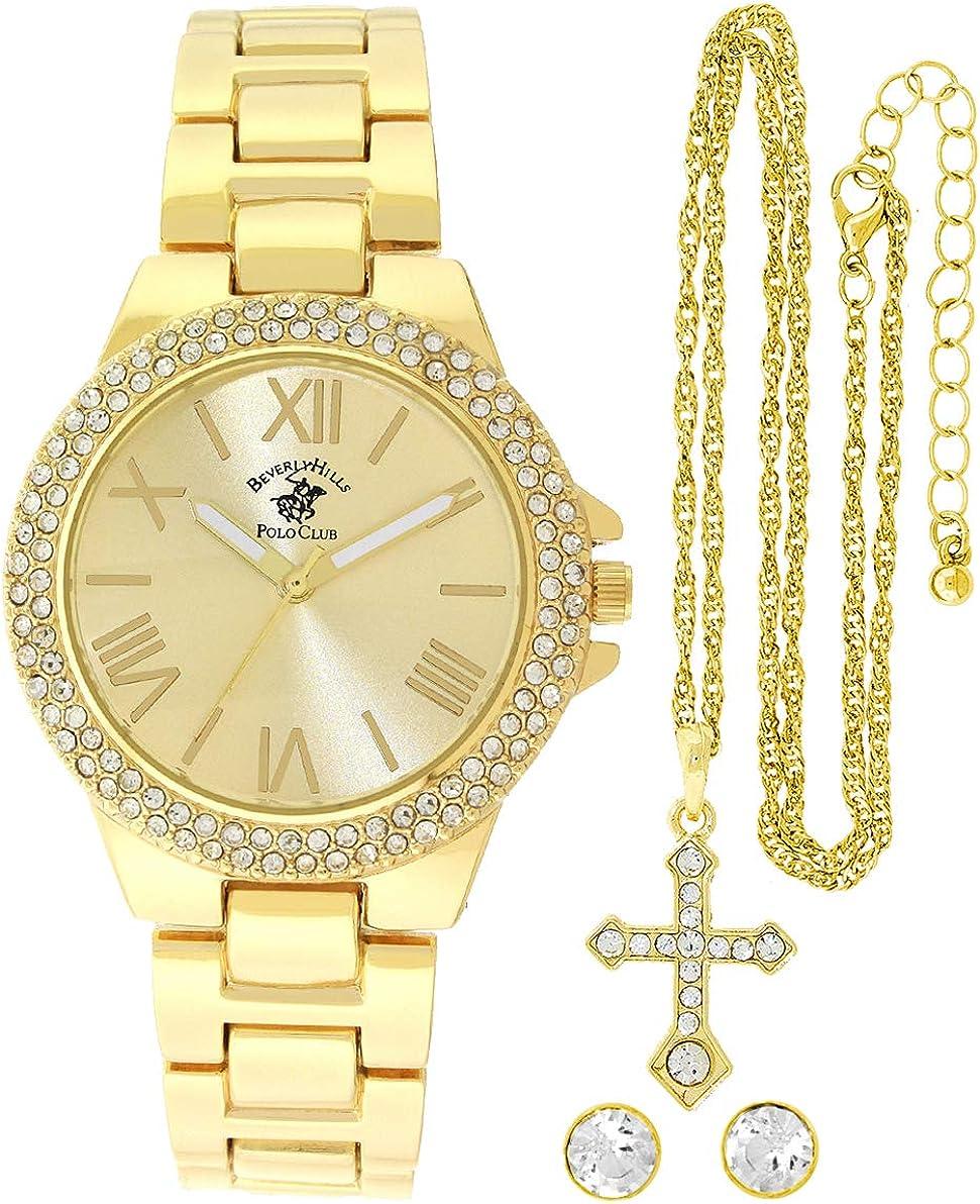 Beverley Hills Polo Club Juego De Reloj De Cuarzo Para Mujer Color Dorado Collar De Cruz A Juego Reloj De Negocios Informal Watches