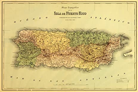 Amazon.com: Puerto Rico - Panoramic Map (12x18 Art Print, Wall Decor ...