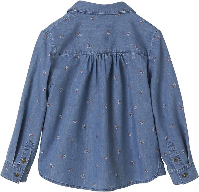VERTBAUDET Blusa Vaquera para niña con Estampado de Flores Azul Oscuro Lavado 9A: Amazon.es: Ropa y accesorios