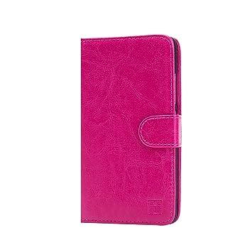 32nd® Funda Flip Carcasa de Piel Tipo Billetera para Xiaomi Redmi Note 2 con Tapa y Cierre Magnético y Tarjetero - Rosa