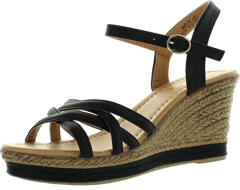 Bella Marie BellaMarie Nxt-10 Women Comfy Ankle Strappy Espadrille Wedge Platform Sandal B00K7YFZ8Q 9 B(M) US|Black
