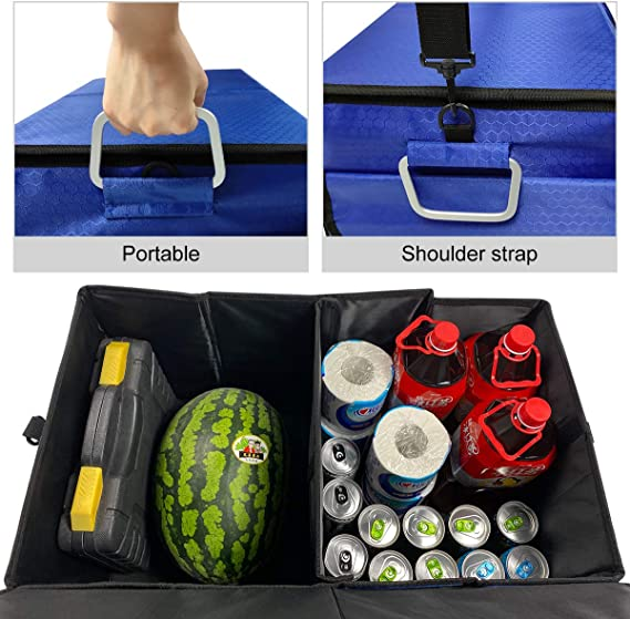 Azul Macallen Almacenaje Maletero Coche Universal Organizador Caja para Accesorios Furgoneta Bolsas Plegable con Cubierta Desmontable 60x35x30 cm