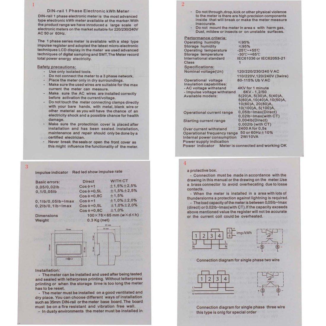 Baomain Dds238 4 R Din Rail Single Phase Three Wire Energy Meter Wiring Diagram 110v 220v 60hz 10 100 A