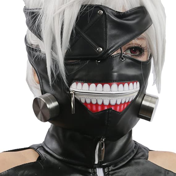 Xcoser Scary Ken Kaneki Mask Wig Cosplay Props for Halloween Costume