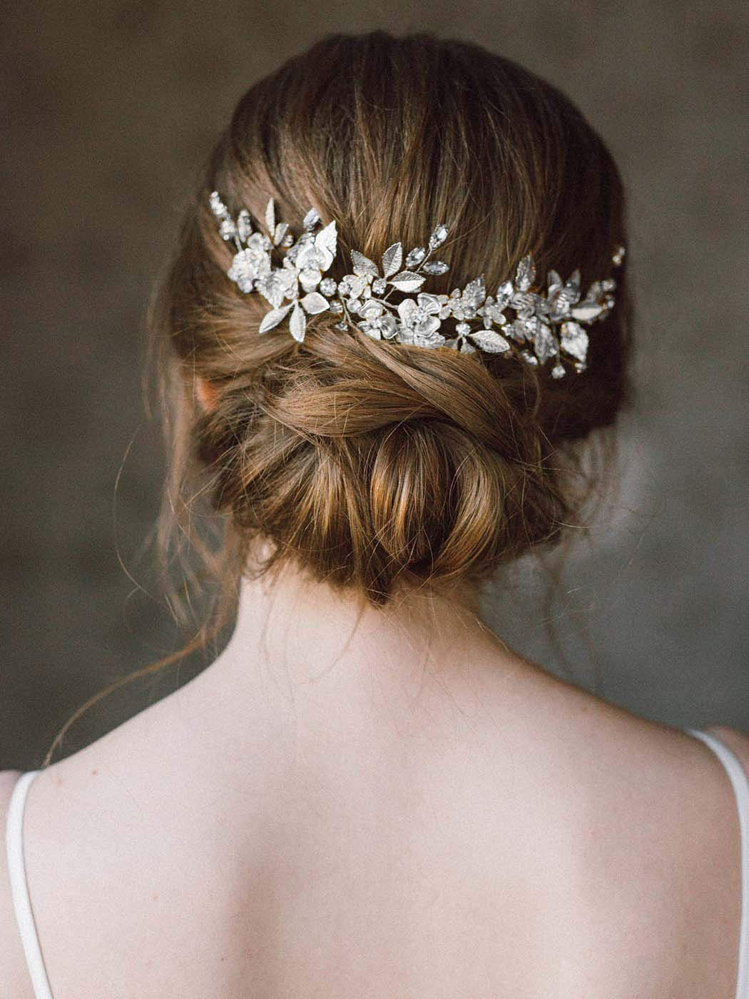 Gold Leaf Hair Accessory Water Lily Crystal Hair Prong Gold Leaf Clip Rose gold Leaves Jewelry Silver Hair Pin Bridal Floral Hair Fork