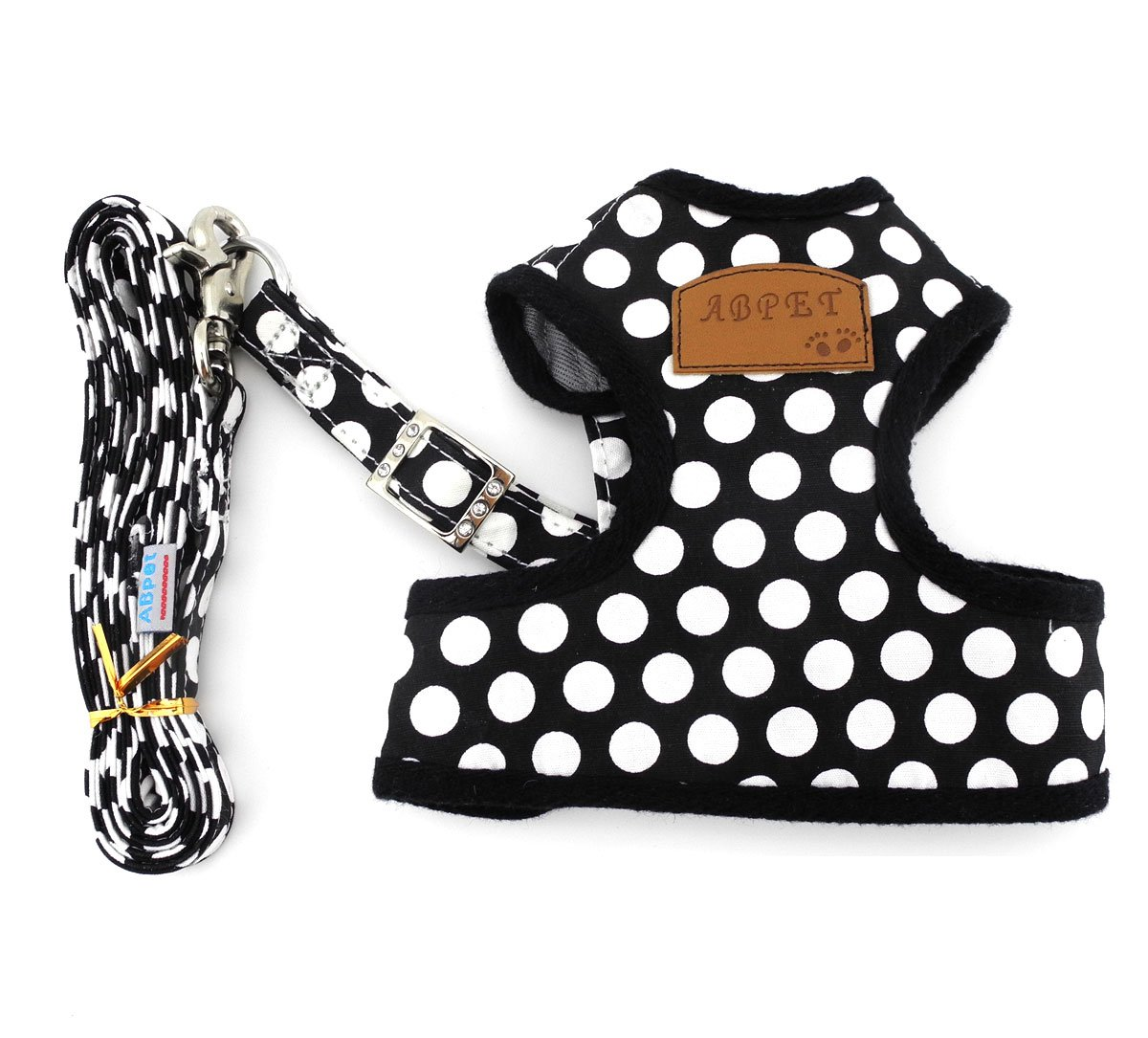 SMALLLEE_LUCKY_STORE New Soft Mesh Nylon Vest Pet Cat Small Medium Dog Harness Dog Leash Set Leads Black M