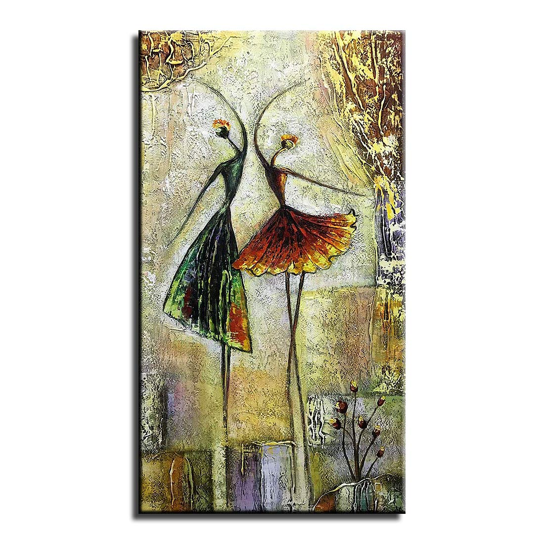 Gincleey Hand Painted Oil Paintings On Canvas, Modern Framed Art 3D Abstract Artwork Ballet Dancers Pictures Vertical Wall Art Ready to Hang for Living Room Bedroom Home Decorations 20'' L x 40'' W