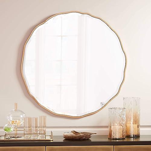 Noble Park Lissa Gold Waved Edge 31 1 2 x 31 1 2 Wall Mirror