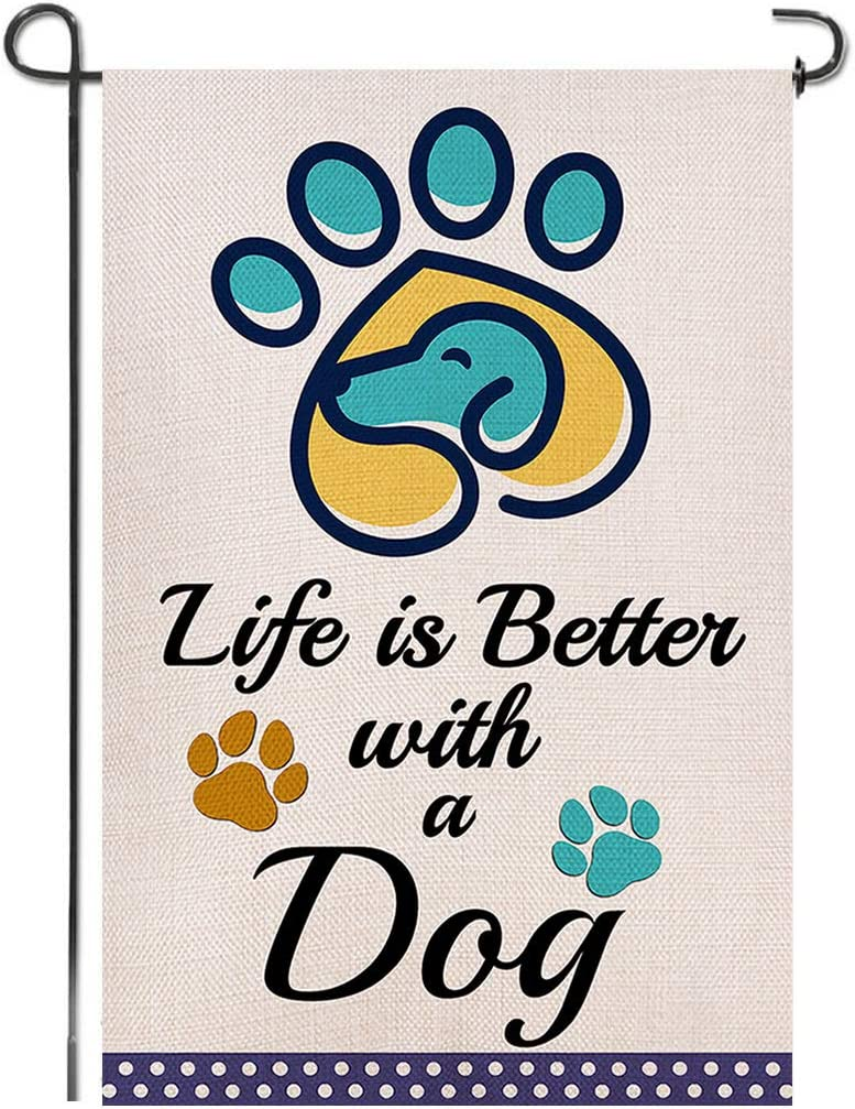 Shmbada Paw Print Life is Better with a Dog Double Sided Burlap Garden Flag, Premium Material, Funny Pet Puppy Decorative for Garden Yard Lawn, 12.5 x 18.5 inch