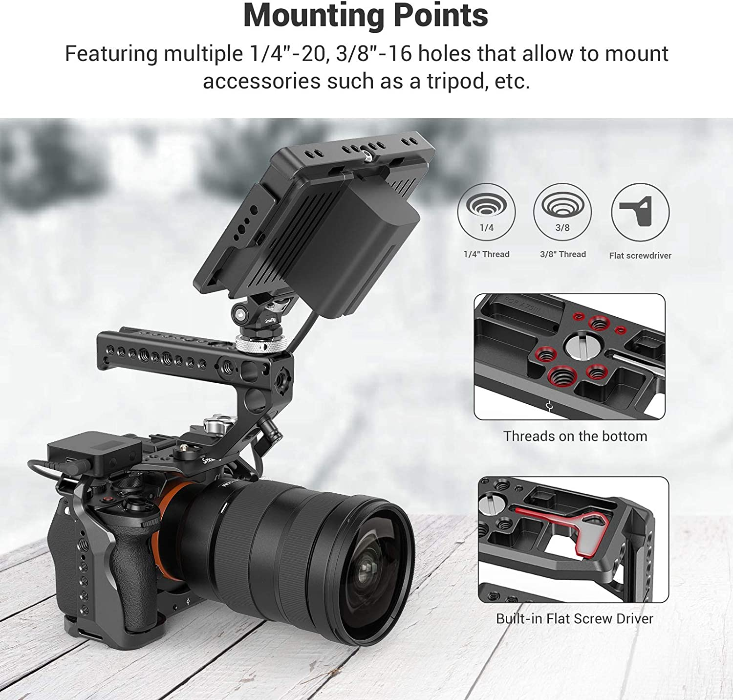 NATO Rail 3009 SMALLRIG Camera Cage Kit Master Kit for Sony Alpha 7S III // A7S III // A7S3 with HDMI Cable Clamp NATO Top Handle