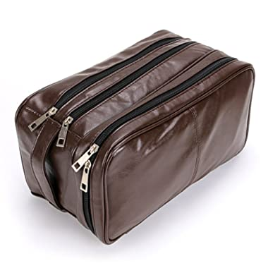 Toiletry Bags, Sumnacon Unisex PU Leather Waterproof Travel Cosmetic Bag Organizer Perfect for Shaving Grooming Dopp Kit & Household Business Vacation with Portable Handle
