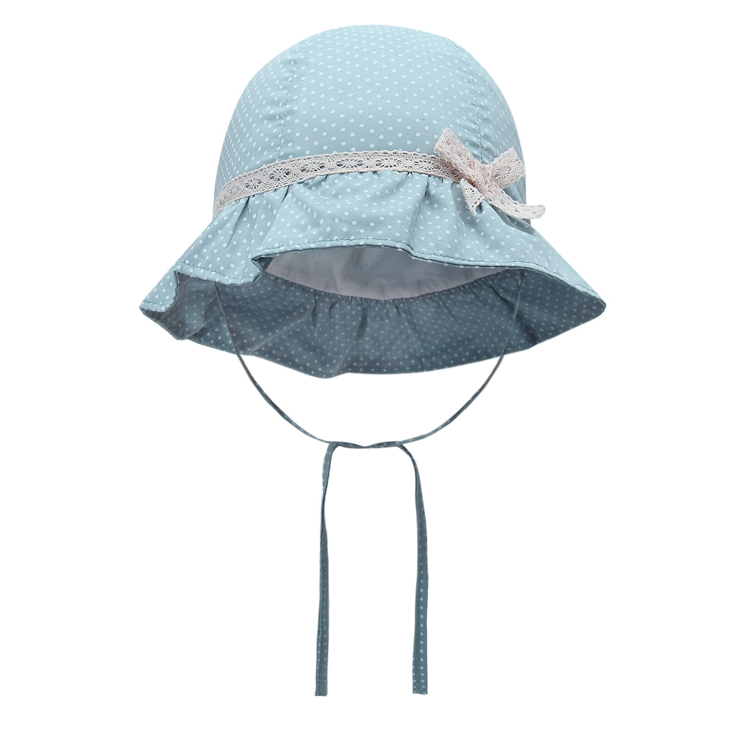 Baby Girl Sun Hats Toddler Girl Summer Hats Lace Bowknot Hats 0-6Y (50cm(19.6in Head Circumference), Blue)