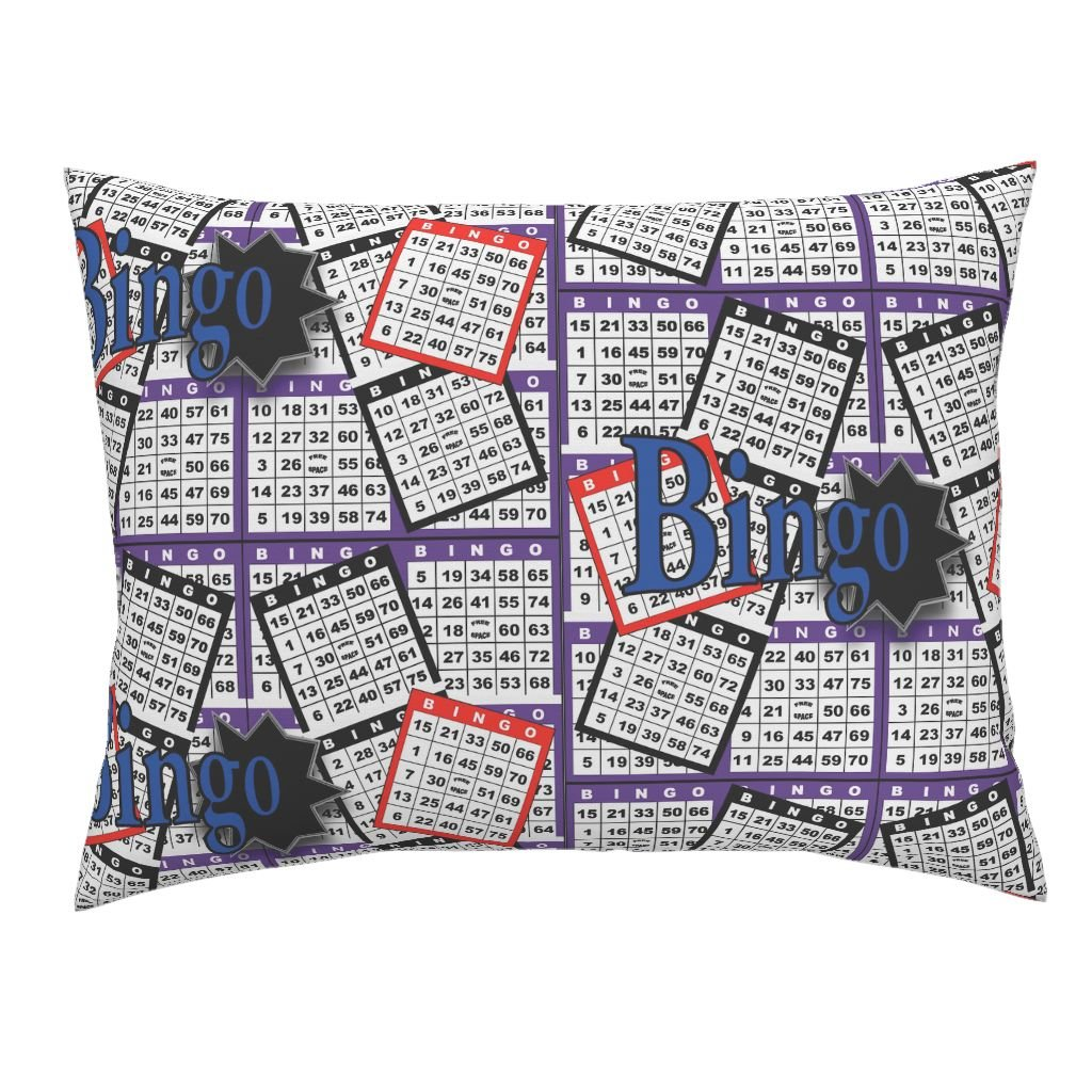 Roostery Bingo Euro Knife Edge Pillow Sham Bingo Cards by Dd BAZ Natural Cotton Sateen Made