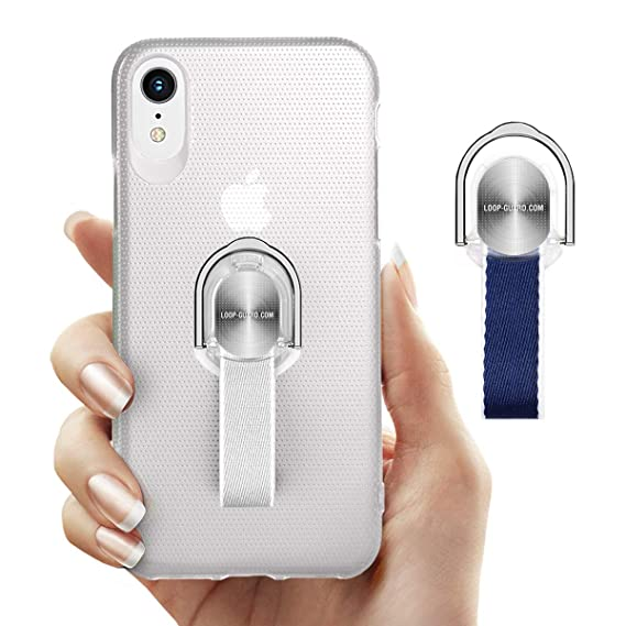 daff43d6ca iPhone XR Case with Finger Strap & Ring Loop Holder, White Slim Fit Hard  Cover