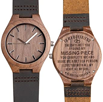 To My Boyfriend Wooden Watch Engraved Best Gifts Leather Strap Personalized Anniversary Birthday For