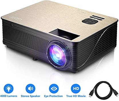 GBlife Mini Portable Video Projector - 4000 Lumens 1080P HD LCD Home Business Projector, Compatible with TV Stick, PS4, HDMI, VGA and USB for Movies, ...
