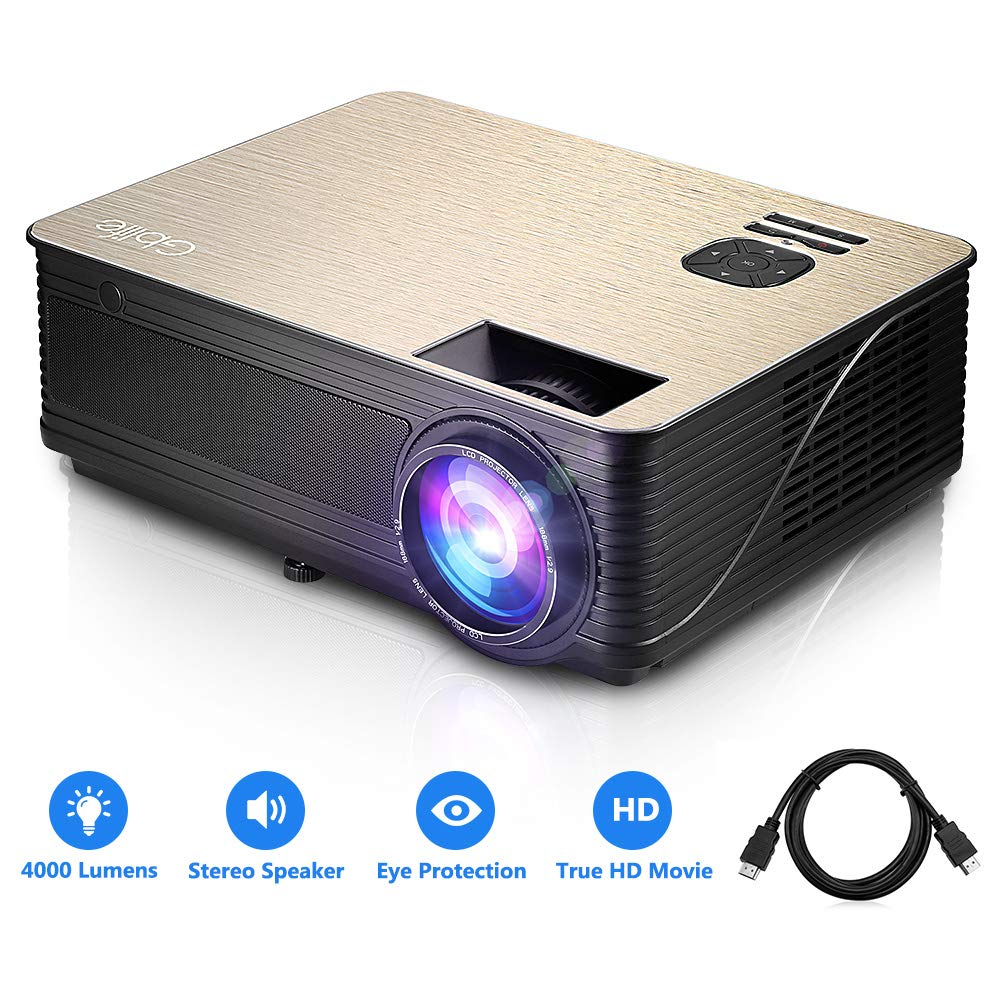 GBlife Mini Portable Video Projector - 4000 Lumens 1080P HD LCD Home Business Projector, Compatible with TV Stick, PS4, HDMI, VGA and USB for Movies, Sports and Video Games, PPT(Black Gold) by GBlife