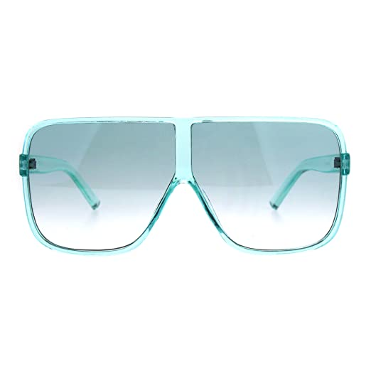 ed7da8fe8d6 Womens Super Oversized Fashion Sunglasses Flat Top Square Translucent Frame  Mint