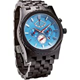 JORD Wooden Watches for Men - Sawyer Series Chronograph Automatic / Wood Watch Band / Wood Bezel / Self Winding Movement - Includes Wood Watch Box - Marine Blue Dials and Black Ebony # J8008A03M