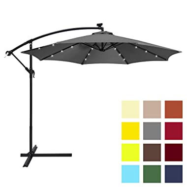 Best Choice Products 10-Foot Solar LED Offset Hanging Polyester Market Patio Umbrella w/Steel Frame and Easy Tilt Adjustment, Gray