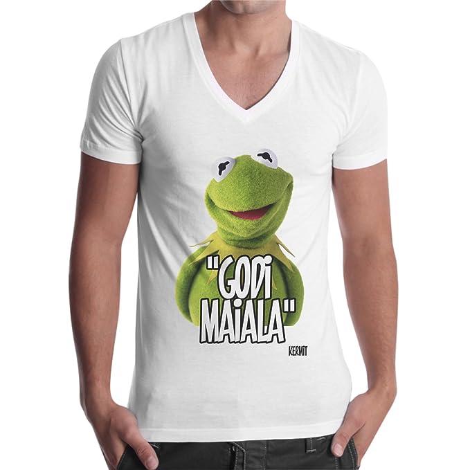 thedifferent Camiseta hombre cuello V Kermit la rana frase divertida Godi maiala. – Blanco Bianco