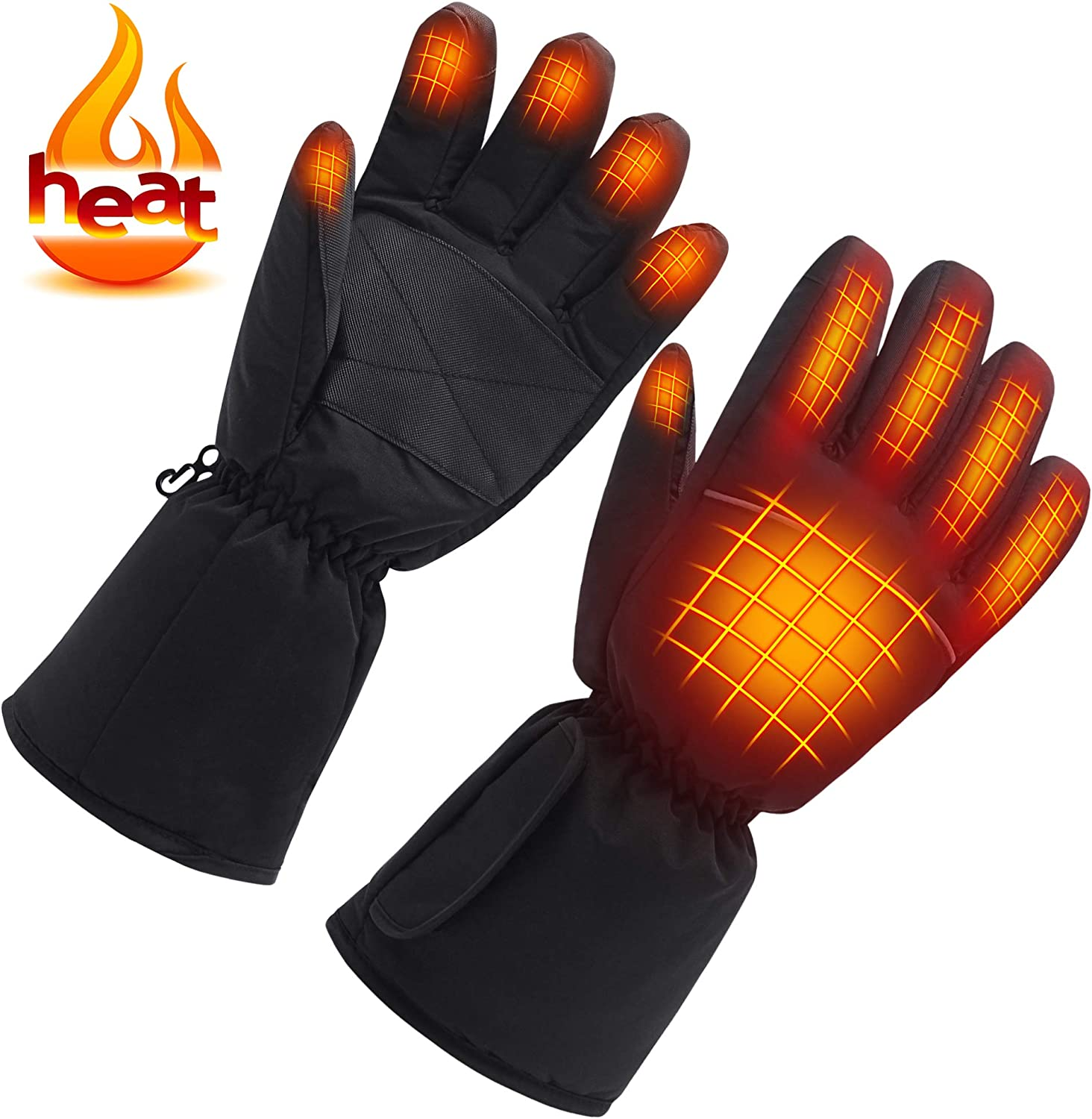Rechargeable Heated Gloves for Man & Woman, AA Battery Operated Motorcycle Heat Gloves Kits,Winter Warm Arthritic Gloves Texting Thermal Electric Gloves for Hiking/Skiing/Hunting Outdoor Sports