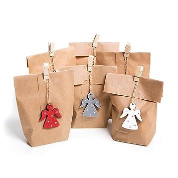 Juego con 12 pequeñas marrón de bolsas de papel de regalo de ...