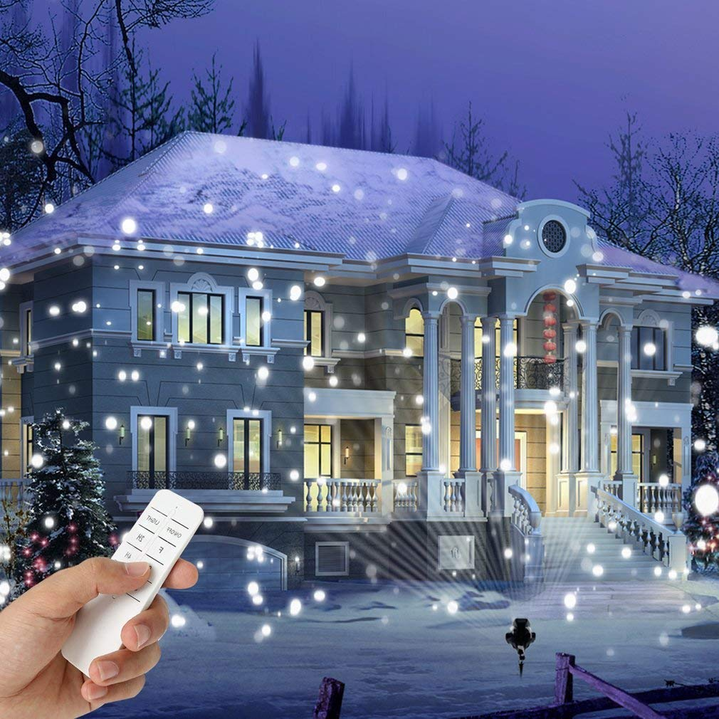 Snowfall Outdoor Led Christmas Lights Displays Projector Show Waterproof Rotating Projection Snowflake Lamp with Wireless Remote for Xmas Halloween Party Wedding and Garden Decorations Epotech